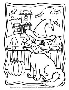 Halloween Coloring Pages - Easy Peasy and Fun Pumpkin Coloring Pages, Fall Coloring Pages, Coloring Sheets For Kids, Cat Coloring Page, Flower Coloring Pages, Coloring Pages For Kids, Coloring Books, Free Coloring, Kids Coloring