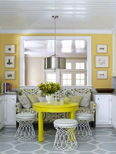 That is a couch as dining room seating! Pretty neat alternative to having a full on booth in your house breakfast nooks, color, kitchen nook, stool, kitchen dining, hous, benjamin moore, yellow walls, painted floors