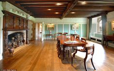 Dining room: The house contains an original 14th-century fireplace which would once have been a major focal point for residents