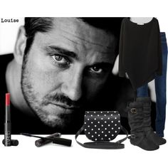 """gerard butler....known to reduce grown women to giggling schoolgirls with his beautiful eyes and scottish accent!!!"" by clayhandler on Polyvore"