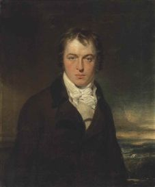 Artwork by Sir Thomas Lawrence, Portrait of a gentleman, half-length, in a dark coat and cream waistcoat, in a landscape, Made of oil on canvas