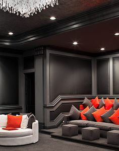 contemporary home theater / movie room - to die for. I would choose a little brighter colors but this is amazing