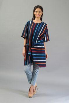 Bluza in dungi din bumbac B017-M -  Ama Fashion