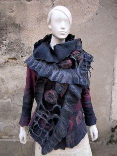 veste et écharpe feutre nuno www.arlatine-creations.com