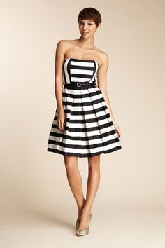 Oleg Cassini Striped Dress with Belt