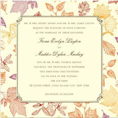 fall wedding invitation by wedding paper divas