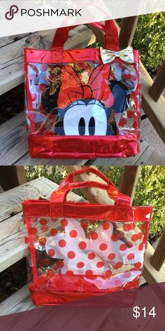 """Disney Minnie Mouse Tote/Beach Bag, Near New This fun bag is in excellent condition. Great for taking things on trips, to grandma's house, to daycare, or to the beach. Approx. 14"""" wide x 12"""" tall x 4"""" deep. Bundle with my other items for a discount and to save on shipping. I ship quick! Disney Accessories Bags"""