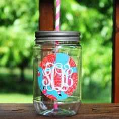/ Lilly Pulitzer Inspired Monogram Plastic Mason Jar