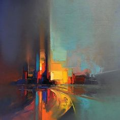 Pixelated Palette Knife Paintings Capture Energetic Cityscapes in Hazy Hues - Abstract Landscape Paintings Capture Ener Abstract Landscape Painting, Abstract Canvas, Landscape Paintings, Art Paintings, Painting Art, Indian Paintings, Watercolor Landscape, Canvas Art, Landscapes To Paint