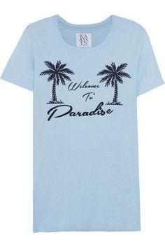 ZOE KARSSEN WELCOME TO PARADISE T-SHIRT $85 Blue Short Sleeve Tee Modal Top XS #ZoeKarssen #GraphicTee
