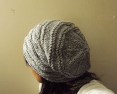 Hand Knit Oversized Grey Slouchy Cabled Hat Beanie Beret. $35.00, via Etsy.