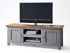 Lowboard 160x60x45 Cm Kiefer Antik Grau Tv-board Tv-schrank Used Look Bristol