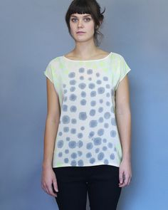 Silk Dots Shirt Chartreuse and Gray. Readymade by XSILK on Etsy