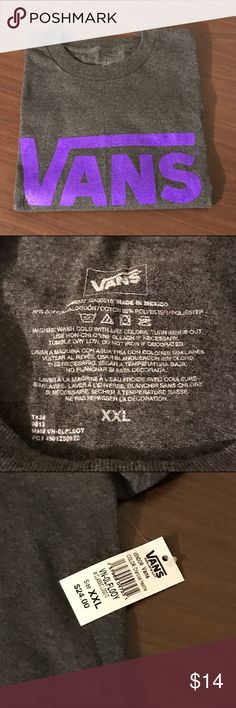 Men's Vans XXL T-Shirt Vans men's XXL gray tshirt with purple classic logo on front of shirt. Vans Shirts Tees - Short Sleeve