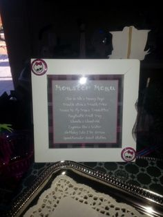 Monster High party menu ~Cute!!! Going to use a few of these!~