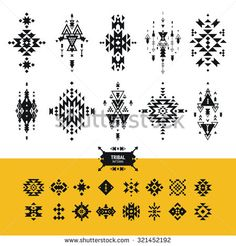 Vector Tribal elements with hipster logo, aztec patterns and ethnic symbols isolated on white background