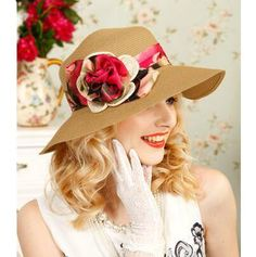 958b7a30f1d Khaki straw hat with flower decoration for women UV protection sun hats