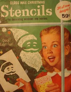 """Christmas Stencils - such memories this brings back! When we lived in southern CA, we'd """"glass wax"""" as many windows as we could so it'd look like snow. These stencils held up for years!"""