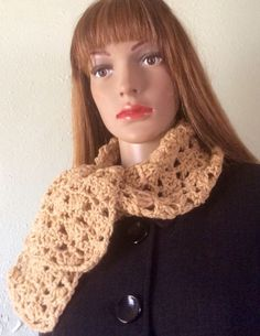 "Handmade crochet scarf,paddle stitch, acrylic,6.5""wide 47"" long"