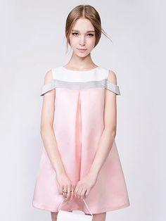 Pink Contrast Cold Shoulder Swing Dress