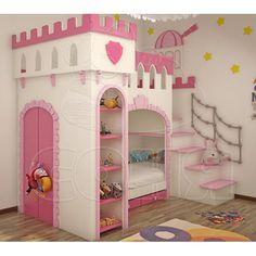 Детская кровать Крепость со штангой в шкафу