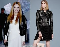 Bella Thorne wears this wears this Versace Leather biker jacket at the Versace Fashion show during the Milan Fashion Week.