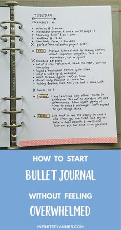 How to Start Bullet Journal without Feeling Overwhelmed - Infinite Planner Feeling like its difficult to start a bullet journal? Didnt know how to start? This post will change your belief! Bullet journals can be started in 5 seconds flat. And it is easy! Bullet Journal Banners, Planner Bullet Journal, How To Bullet Journal, Bullet Journal Inspo, How To Journal, Bullet Journal Beginning, Brain Dump Bullet Journal, Journal Layout, Journal Prompts