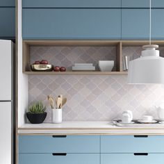 Armário azul na cozinha que gosta? Blue cupboard in the kitchen you like? Kitchen Room Design, Kitchen Dinning, Best Kitchen Designs, Modern Kitchen Design, Home Decor Kitchen, Interior Design Kitchen, Home Kitchens, Interior Livingroom, Cuisines Design