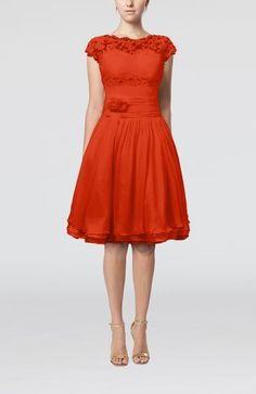Persimmon Cinderella Scalloped Edge Short Sleeve Chiffon Knee Length Lace Bridesmaid Dresses