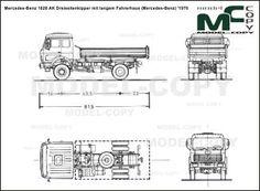 Mercedes-Benz 1626 AK Dreiseitenkipper mit langem Fahrerhaus (Mercedes-Benz) '1976 - blueprints (ai, cdr, cdw, dwg, dxf, eps, gif, jpg, pdf, pct, psd, svg, tif, bmp)