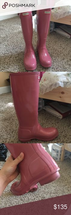 Pink Hunter boots I got these awhile back as a gift, but sadly I never wear them anymore due to my other hot pink hunter boots! It's in great shape and now waiting for a new owner. Size 6. Hunter Shoes Winter & Rain Boots