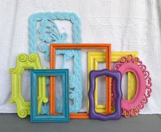 Painted Mirror Frames | Jessica....Bright Painted Frames & Mirror Set of 7 - Upcycled frames ...