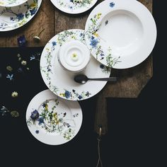 Order Brillance Fleurs des Alpes Rim plate 19 cm made of Bone China easily and securely online. - Personal support - Directly from the manufacturer - Rosenthal Porcelain Online Shop Bone China, Table Settings, Porcelain, Plates, Ceramics, Tableware, Shop, Licence Plates