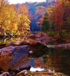 Fall colors along Richland Creek, AR - Hiking the Ozarks Photo #AETN #BeMore