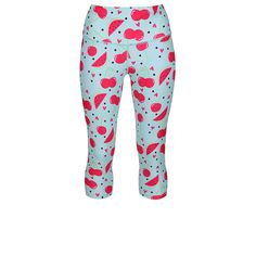 Give Your Wardrobe A Summer Detox With The Light Blue Fruit Salad Length Pants. The Bright Cherry And Watermelon Waistband Keeps Your Tummy And Core Gently Tucked In And Has A Rear Pocket To Zip Up Your Phone. Summer Detox, Blue Fruits, Tights, Leggings, Fruit Salad, Squats, Watermelon, Zip Ups, Capri