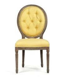 Yellow Linen Medallion Chair