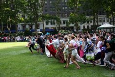 2011: Running of the lawn.  Monday nights mean movies in the summer in Bryant Park.  The lawn opens at 5pm with smiles, screams of laughter, and blankets.