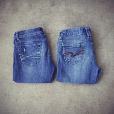 2 Denim Pants 2 cute denim pants. Both Bootcut.  In the main picture:  Left: Aeropostale. Size 5/6  Right: WallFlower. Size tag is taken off. But fits like a 5/6. Aeropostale Jeans Boot Cut
