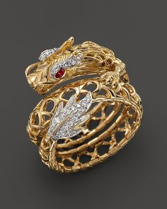 John Hardy Batu Naga 18K Yellow Gold Diamond Pavé Dragon Coil Ring with African Ruby Eyes