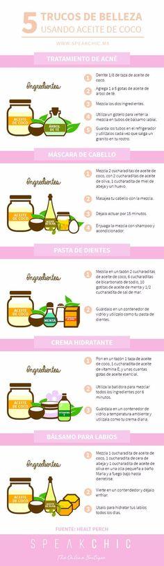 Tips para usar el aceite de coco como remedio de belleza. #infografias #belleza #aceitedecoco