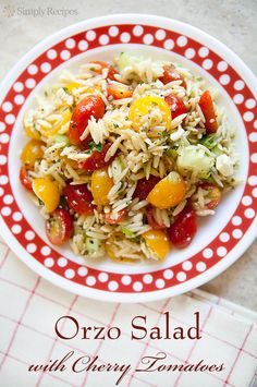 Cherry Tomato Orzo Salad ~ A summer salad of cherry tomatoes, orzo pasta, cucumbers, feta cheese, oregano and green onions, dressed with olive oil and lemon juice. ~ SimplyRecipes.com