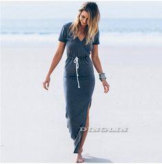 ... Летние V Средства ухода за кожей Шеи модное платье короткий рукав  высокий разрез Макси платье с длинным голубой цвет Платья для женщин cl2787  купить ... 68f4ca8f26c45