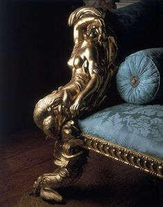 *Rococo Revisited, Stunning fabric with gold figures, TG