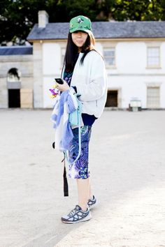 Susie Lau, Style Bubble  Wearing: Cap by Karen Walker cap, Lucas Nascimento jacket, Magdalena Velevska dress, Nike shoes and Boyy bag #MBFWA Day 1