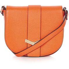 TopShop Smart Saddle Bag ($41) ❤ liked on Polyvore featuring bags, handbags, shoulder bags, purses, orange, handbags purses, man bag, shoulder strap handbags, long strap shoulder bag and polka dot purse