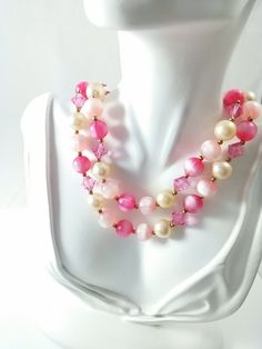 Vintage Double Strand Necklace - 1960s Lisner Multi Strand Beaded Cocktail Necklace in Shades of Pink, Pearls, and Faceted Sparkles
