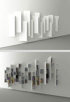 CTline bookshelf designed by Victor Vasilev. From a particular angle, this construction looks nothing like a bookshelf, but rather a minimalistic art installation.