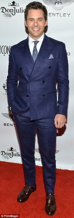 Nice footwear too: The X-Men star wore fancy brown lace-up shoes that nicely accented his blue suit