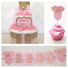Princess Party in a Box, Complete Princess Baby Shower Package, Pink and Gold Baby Shower  on Etsy, $90.00
