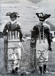 Extravagantly dressed Xhosa gentlemen showing off signature traditional attire of the AbaThembu clan.